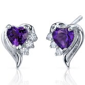 Cupids Grace 1.00 Carats Gemstone Heart Shape Cubic Zirconia Earrings in Sterling Silver
