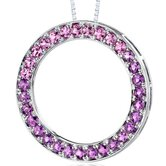 3.50 Carats Total Weight Round Shape Amethyst and Pink Sapphire Circle of Life Pendant Necklace