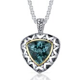 Trillion Checkerboard Cut 7.25 Carats Green Spinel Antique Style Pendant in Sterling Silver