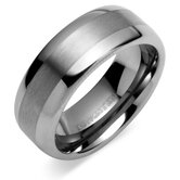 Rounded Edge Brush Finish 8mm Comfort Fit Mens Tungsten Carbide Wedding Band Ring