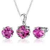 Classic Enchantment 10.25 Carats Checkerboard Lily Cut Pink Sapphire Pendant Earring Set in Sterling Silver