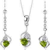 Classy Trillion Cut Sterling Silver Pendant Earrings Set