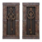 Antique Key Wood Wall Decor (Set of 2)