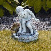 "13.5"""" Boy Playing with Sail Boat and Birdbath"