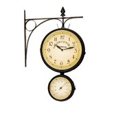 Bracket Clock with Thermometers in Dark