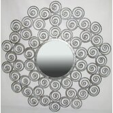 Round Wall Mirror with Swirls in Silver