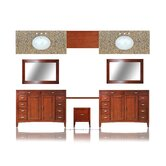 "Metropolitan 133"" Double Basin Vanity with 36"" Adjustable Makeup Table"