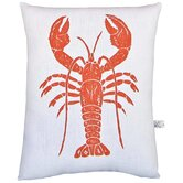 Lobster Block Print Squillow Accent Pillow
