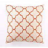 Moroccan Tile Down Filled Embroidered Linen Pillow