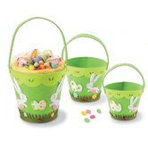 3 Piece Bunny Felt Pail Basket Set