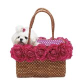 Straw Dog Tote with Big Pink Blossoms