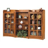 "62"" H Four Shelf Bookcase with Glass Door Sides"