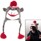 Adult Size Sock Monkey Knit Hat with Poly-Fleece Lining