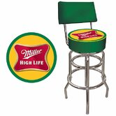 Miller High Life Padded Bar Stool with Back