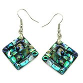 Square Abalone Shell Dangle Earrings