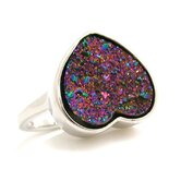 Druzy Sterling Silver Heart Ring