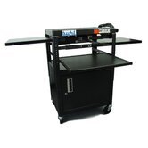 Height Adjustable AV Media with Security Cabinet - Three Stationary Shelves / Laptop Shelf
