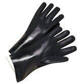 "PVC Coated Gloves - 2433 12"" black pvc finish jersey lined"