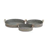 Gorgeous Styled 3 Piece Metal Galvanized Tray Set
