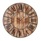 Round Metal Wood Clock