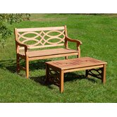 Hennell Eucalyptus Garden Bench with Coffee Table