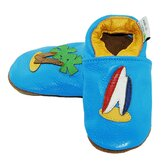 Beach Scene Soft Sole Leather Baby Shoes