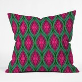 Wagner Campelo Polyester Ikat Leaves Indoor/Outdoor Throw Pillow
