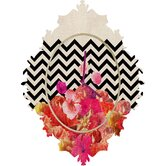Bianca Green Chevron Flora 2 Clock