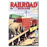 Railroad Magazine the Circus on the Tracks, 1946 Vintage Advertisement on Canvas