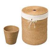 Hand Woven Rattan Hamper and Waste Basket Set