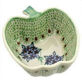 Green Floral 5.08cm Hand-Decorated Apple Dish