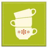 Kitschy Kitchen Decorative Tile in Coffee Time Green-Cream