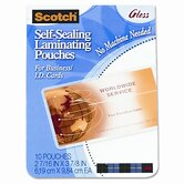 Self-Sealing Laminating Pouches, 9.6 mils, 2-7/16 x 3-7/8, 25/Pk