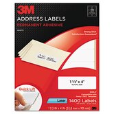Permanent Adhesive White Mailing Labels, 1 1/3 x 4, White, 1400 Labels/Pack