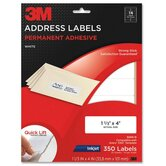 "Address Labels,Inkjet Paper,1-1/3""x4"",350/PK,White"