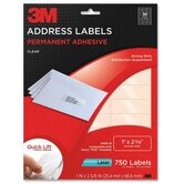 "Address Labels,Laser Film,1""x2-5/8"",750/PK,Clear"