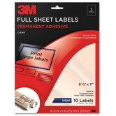 "Full Sheet Labels,Inkjet Film,8-1/2""x11"",10/PK,Clear"