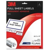 "Full Sheet Labels, Inkjet Paper, 8-1/2""x11"", 25 per Pack, White"