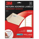 "Address Labels, Laser Paper, 2/3""x1-3/4,1500 per Pack, White"