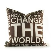 Change the World Pillow in Chocolate
