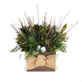 Natural Evergreen Table Top Basket Wreath