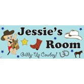 Personalized Canvas Cowboy Boy Name Sign