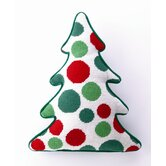 Green and Red Dots Tree Shaped Pillow