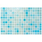 "Colour Blend 1"" x 1"" Glass Mosaic in Aqua"