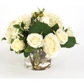 Silk Roses and Hydrangeas in Glass Vase
