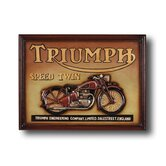 Hand-Carved Triumph Speed Twin Motorcycle Sign