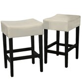 Lopez Backless Bonded Leather Counter Stool (Set of 2)