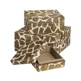 Nested Faux Pony Giraffe Print Boxes (Set of 3)