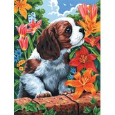 Painting by Numbers Artist Canvas Series Puppy Flowers Set