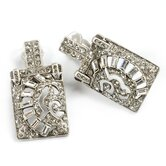 Deco Marquee Clip Crystal Earrings